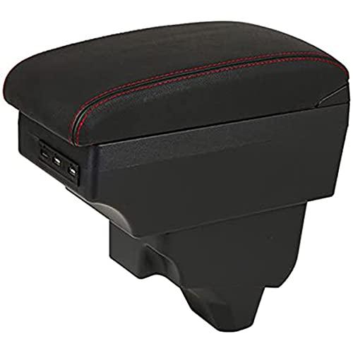 JJZRB PU Pelle Auto Braccioli Custodia, per Peugeot 2008 2019-2021 USB Console Centrale Impermeabile Portaoggetti Armrest Box, Car Interior Styling Accessories