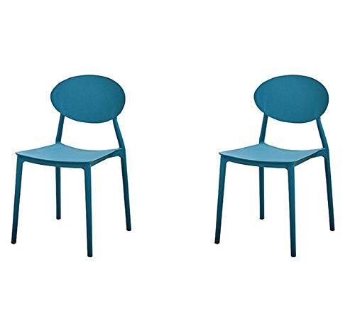 2er Gartenstuhl Balkon Stuhl Stapelstuhl aus Blau Kunststoff Outdoor-Stuhl Sonnenstuhl Wohnzimmerstühle Bistrostuhl Esszimmerstühle (2, Blau)