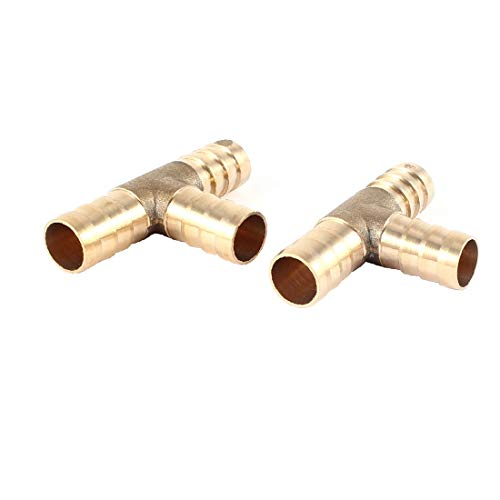X-Dr 2 Unidades Gold Tone T Shape 3 Way Air Gas Fittings Gas Hose Barb Acoplador de conector para tubo de 12 mm de diámetro (53deea94238fe83aabd807443f005ecf)