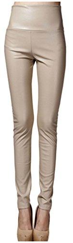 Lotus Instyle dick Hohe Taille Kunstleder Leggings Frauen Lederhose-Nude M