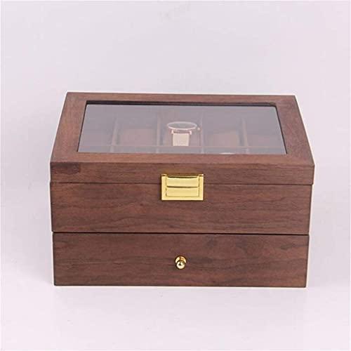 W-HUAJIA Grids Double Couche Retro Watch Box Walnut Wooden Watch Case Boîtes Stockage Organisateur pour Hommes Montre Femmes Bijoux Meilleur Cadeau
