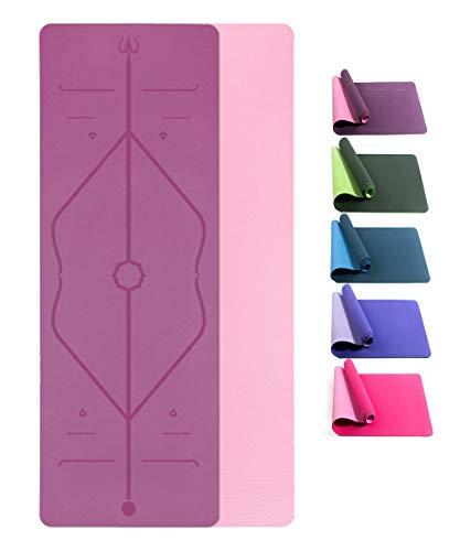 Yogamatte Rutschfeste Gymnastikmatte für Yoga TPE ist Rutschfest ECO Freundlichen Material Das SGS Zertifiziert , Hypoallergen und Hautfreundlich...