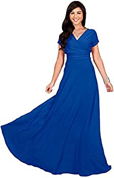 KOH KOH Plus Size Womens Long Cap Short Sleeve V-Neck Flowy Cocktail Slimming Summer Sexy Casual Formal Sun Sundress Work Cute Gown Gowns Maxi Dress Dresses Cobalt Royal Blue 4XL 26-28