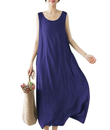 YESNO Girls Casual Flowy Tank Dresses Loose Summer Beach Sun Dress EHG (M, EHG Navy Blue)