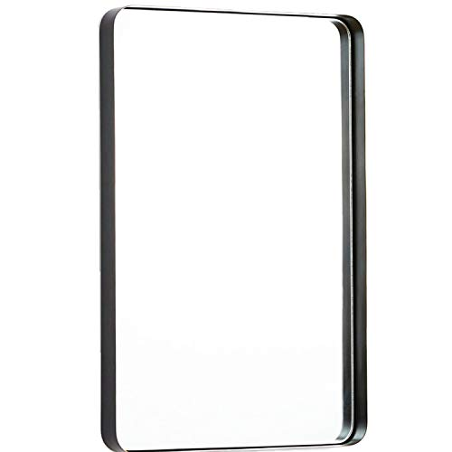 TEHOME 24x36 Black Metal Framed Bathroom Mirror for Wall in Stainless Steel -