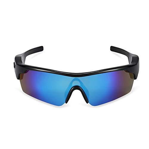 Gafas de sol polarizadas inalámbricas Bluetooth 4.1 Gafas de sol de conducción ósea Auriculares estéreo de música IP55 impermeables deportivos abiertos, con micrófono para Android/iOS (azul)