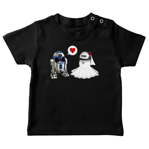 T-Shirt bébé Noir Parodie Star Wars - R2-D2 - Just Married. : (T-Shirt de qualité Premium de Taille 18 Mois - imprimé en France)