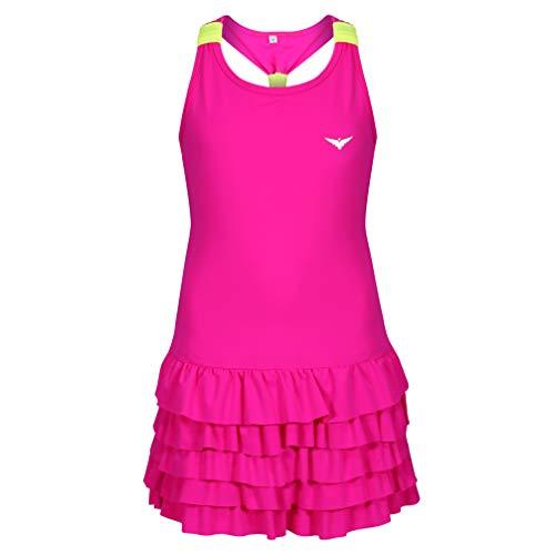Bace - Vestido de tenis para niñas con calzoncillos, vestido de golf con volantes y pantalones cortos, Rosado, 9-10 Years