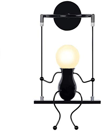 Bedlamp, indoor schommel, kindernachttafellampje, simpel design, cartoon wandlamp, geschikt voor hal, woonkamer, slaapkamer, decoratie, E27-lamp niet inbegrepen