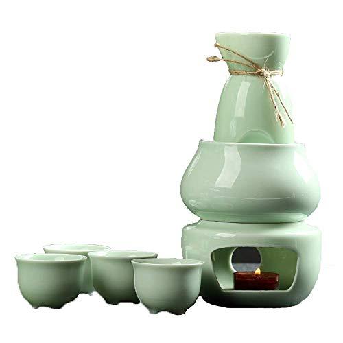 BBGSFDC Juego de 7 tazas de té japonesas, juego de copas de vino tradicionales Celadon con calentador y estufa de velas, para servicio de sake caliente y frío, el mejor regalo para familiares y amigos