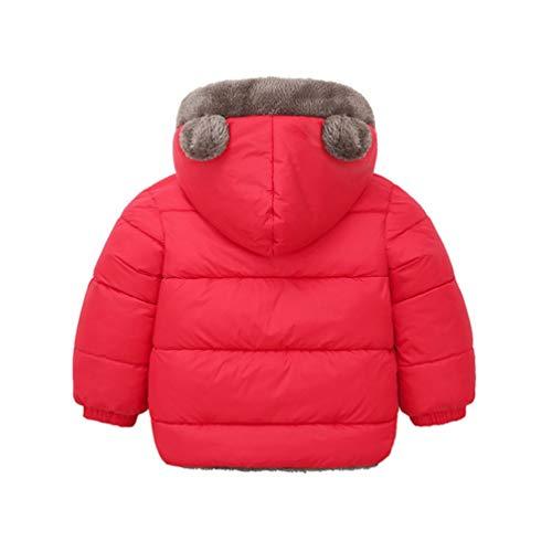 SOIMISS Casaco infantil com capuz e frente aberta com capuz e forro de sherpa espesso para meninos e meninas preto 100 cm, Vermelho, 100 cm