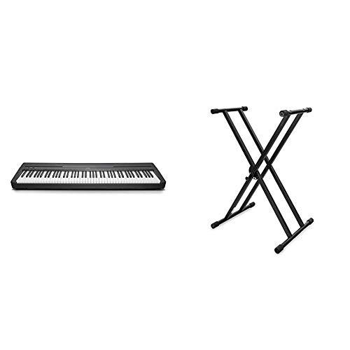 Yamaha Digital Piano P-45B, schwarz – Elektronisches Klavier für Einsteiger für Klavierspielen & Classic Cantabile Doppelstrebiger Keyboardständer - 5-Fach höhenverstellbares Keyboard Stativ