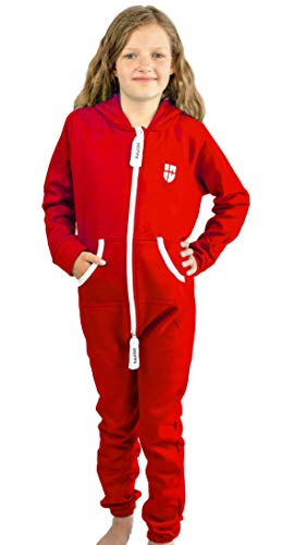 Gennadi Hoppe Kinder Jumpsuit Overall Jogger Trainingsanzug Mädchen Anzug Jungen Onesie,rot,12-13 Jahre