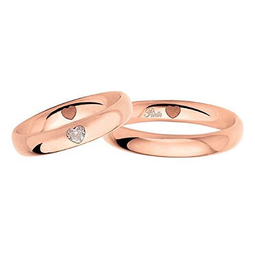 Fedi Polello In Oro Rosa 18 Kt 750/1000 Con Diamanti A Forma Di Cuore 2977 Dr-ur, 18