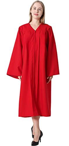 IvyRobes Erwachsenen Mat Bestätigung Talar Priester Robe Chor Klerus für Taufe mit offenem Ärmel Rot