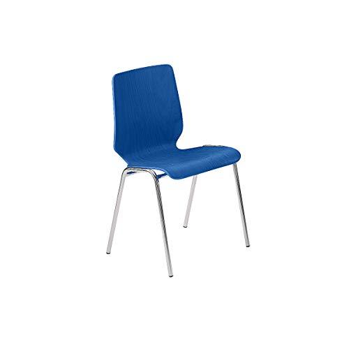 Chaise coque en bois, assise et dossier d'un bloc - piétement chromé, lot de 4 - bois bleu gentiane - Chaise Chaises Chaises de réunion Chaises empilables rembourrées Fauteuil empilable Siège