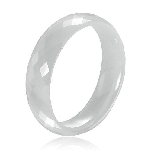 Bishilin Modeschmuck Keramik Ring Herren Rhombischen Rund Bequemlichkeit Passen Eherring Trauring Weiß Ringe Ringgröße 62 (19.7)