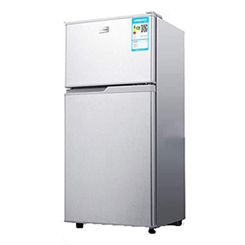 CNDY Kühl- und Gefrierkühlschrank mit Doppeltür, energiesparender, lärmarmer Bierkühlschrank für Wohnungen, Büros, Küchen usw, Silber, Gold, 118 l (Farbe: Silber)