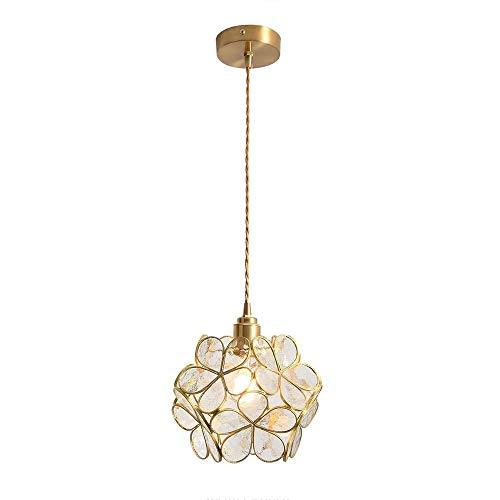 LFsem Luce a sospensione a forma di petalo nordico Lampada a sospensione in vetro soffiato a mano e ottone Lampada a sospensione singola E27 Lampada da soffitto (Trasparente)