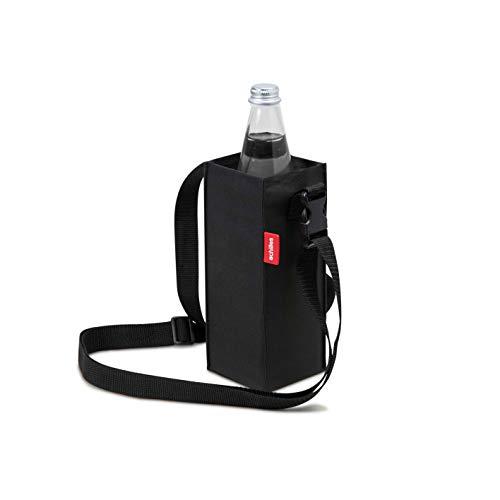 achilles 1er Bottle-Bag Flaschentasche mit verstellbarem Umhängegurt Flaschentragegurt Flaschenhalter Schultertasche Umhängetasche für Festival- und Outdooraktivitäten Schwarz 9cm x 9cm x 22cm