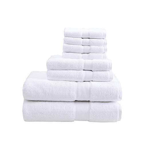 800GSM 100% Cotton Luxury Turkish Bathroom Towels , Highly Absorbent Long Oversized Linen Cotton Bath Towel Set , 8-Piece Include 2 Bath Towels, 2 Hand Towels & 4 Wash Towels , White