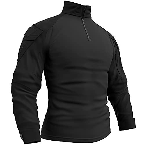 Memoryee Camisa de Manga Larga de Combate Militar del ejército táctico para Hombres Camiseta Slim fit de Camuflaje con Cremallera 1/4 y Bolsillos/Negro/M(Tag XL)