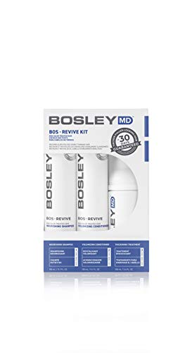 Bosley MD BOSRevive Kit Non Color Treated Hair Int'l. - 1x 150nl Shampoo, 1x 150ml Conditioner, 1x 100ml Thickening Treatment