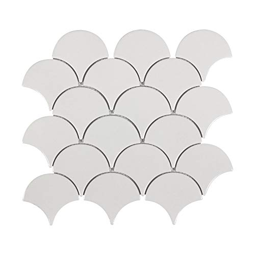 MTO0341 Modern Fan Fish Scale White Gray Glossy Ceramic Mosaic Tile