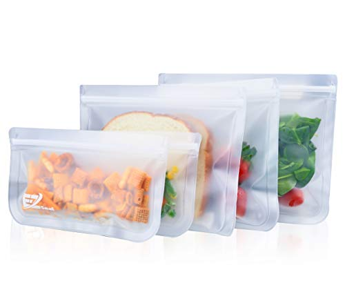 E-Z Seal EXTRA THICK Reusable Storage Bags (5 Pack) ideal for Food snacks Lunch sandwiches Make-up Stationery Travel Storage Home...