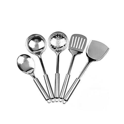 KJHD Cocina de acero inoxidable Utensilio de cocina Conjunto de utensilios de cocina Colander Spoon Spatula Shovel Nostick Utensilios de cocina