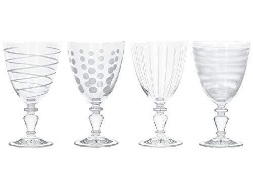 Mikasa C000210 Cheers - Juego de copas decorativas para vino (4 unidades, cristal), diseño de animales, color plateado