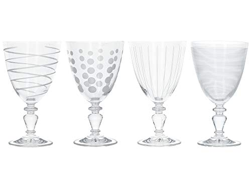 Mikasa Cheers Martini Vasos, 290 ml, juego de 4, Cristal transparente, Plateado, 340 ml, Set of 4