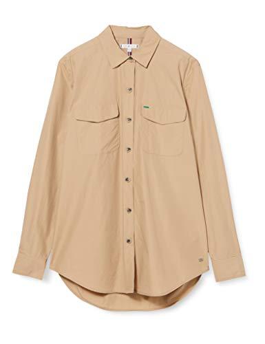 Tommy Hilfiger Lea Officer Shirt LS Camisa, Beige (Beige Aeg), 90 (Talla del Fabricante: 34) para Mujer
