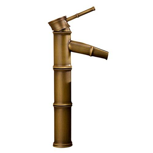 Recipiente Grifo Mezclador de Latón Retro de Agua Forma de Bambú de Fregadero de Baño Cocina Hogar - Plata, Grieta