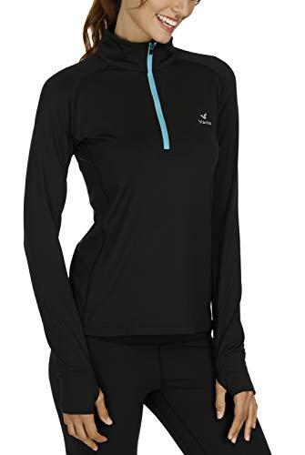Vanis Women's Workout Yoga Track Jacket Long Sleeve Running Shirt 1/2 Zip Pullover (Black, Large)