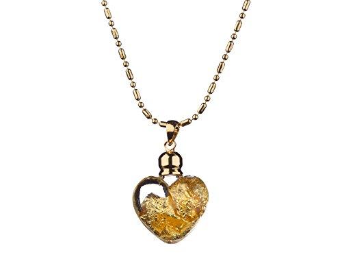 Yves Camani Glas Herz Anhänger mit purem 999.9 Gold gefüllt und vergoldeter Kette