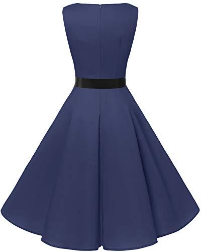 bbonlinedress 50s Retro Schwingen Vintage Rockabilly Kleid Faltenrock Navy - 2