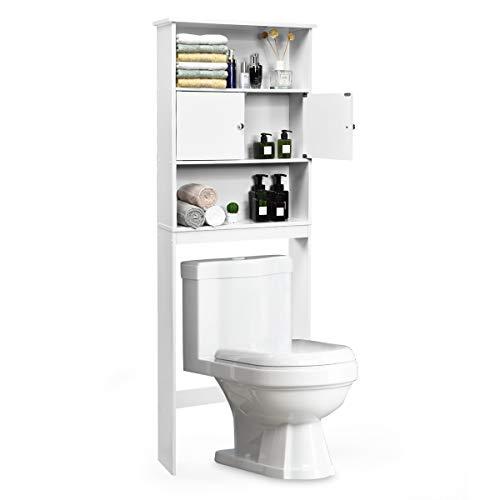 COSTWAY Toilettenregal Badezimmerregal Toilettenschrank Standbadregal Überbauschrank Waschmaschinenregal Badregal Lagerregal 63x19,5x175cm