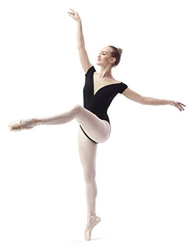 DANCEYOU Maillot de Danza Ballet Body clásico elástico de Danza Gimnasia Danza Gimnasia Leotardo clásico Manga Corta para Mujer Negro XLA