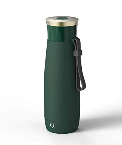 Travel Portable Electric Heating Cup Small Insulated Green Electric Kettle Mini Electric Kettle Heating water bottle Closed Hole Sealed and Leak Proof