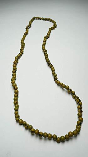 Collar de perlas para mujer, color verde claro, largo, ligero, natural, hecho a mano con nuez de tagua, comercio justo.