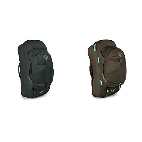 Osprey Farpoint 55 Men's Travel Pack with 13L Detachable Daypack - Volcanic Grey (M/L) & Fairview 55 Women's Travel Pack with 13L Detachable Daypack - Misty Grey (WS/WM)