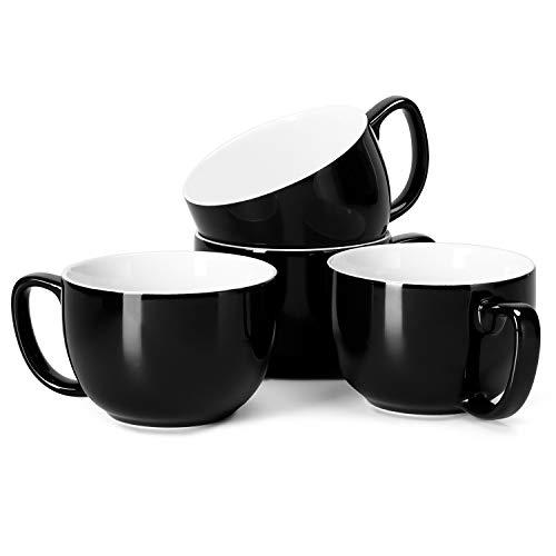 Teocera Porcelain Jumbo Mugs with Handle - 16 oz Set of 4