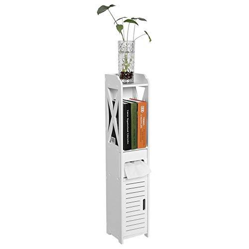 GOTOTOP Mueble Columna de Baño Blanco Hogar Baño Inodoro Torre Alta Gabinete de Madera Estante de Almacenamiento Organizador,120x20 x20 cm