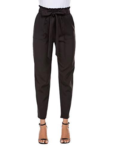 Beyove Damen Hosen Lang Hose Slim Palazzo Taillen Hose Lässige Hose Elastischer Taille Elegant mit Eingrifftaschen (S, Schwarz)