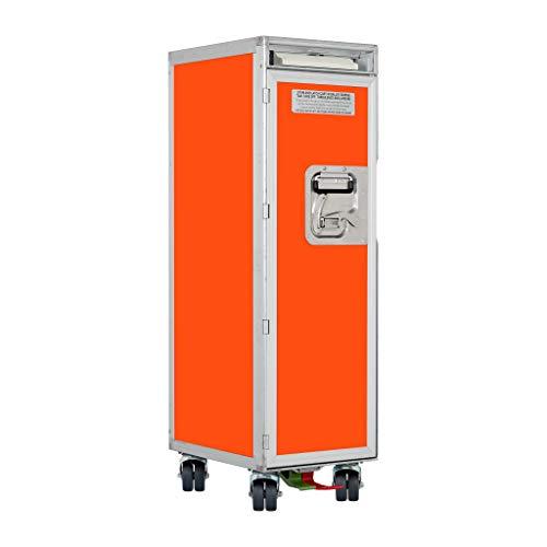 Flugzeugtrolley Uni Orange (Neue Rollen), Gebrauchtes Original aus der Luftfahrt - ausgemustert und hochwertig restauriert, Flugzeug Servierwagen, Original Airline Trolley