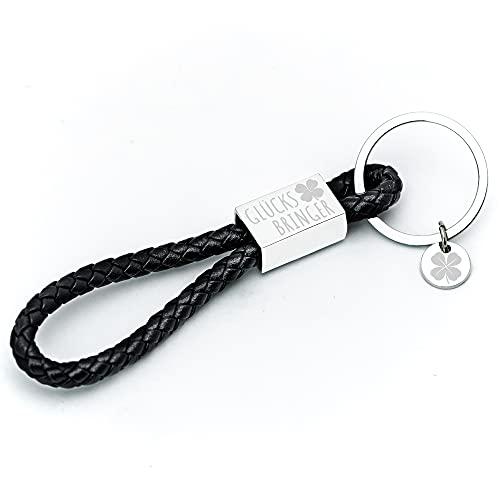 Glitzkind Llavero con grabado «Amuleto», colgante de trébol de la suerte para coche, regalo para cumpleaños, remolque de conducir, Negro , Talla única