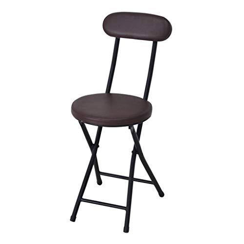 Sgabello alto pieghevole rotondo imbottito portatile, sedia da cucina per la colazione con gambe in acciaio resistente, sedile morbido per balcone, carico massimo 100 kg (altezza seduta 45 cm)