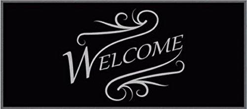 Chemin de Chemin De Couloir – Tapis de cuisine – Welcome – Noir – universel – Cuisine – Chemin de – déco Tapis pour cuisine, couloir, salon et Bar – Chemin de la Star dans votre Appartement – staunen être vos invités – Lavable – Cuisine Déco Modèle – 67 x 150 cm