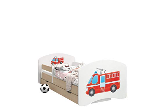 Happy Babies - LIT D'ENFANT DOUBLE FACE AVEC TIROIR Design Moderne Avec Bords Sécurisés et Protection Contre les chutes Matelas en Mousse 7 cm Poire claire (Camion de pompier, 190/90)